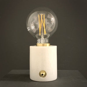Marble and Brushed Gold Bulb Holder with Vintage Globe Bulb 95mm