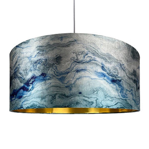 Azure Carrara Marble Effect Drum Shade
