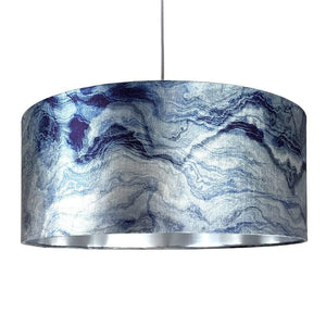 Indigo Carrara Marble Effect Drum Shade