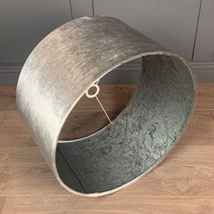 Alphine Grey Velvet Shade lined with Grey Marble Fabric Lining