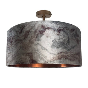 Carrara Pewter Marble & Brushed Copper Electrified Pendant