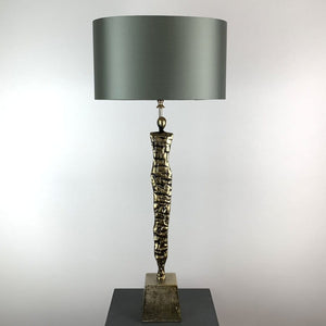 Shaman Antique Brass Table Lamp with Wild Dove Oval Shade