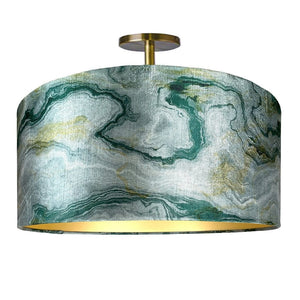 Carrara Emerald Marble & Brushed Gold Electrified Pendant