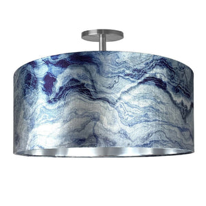 Carrara Indigo Marble & Brushed Silver Electrified Pendant