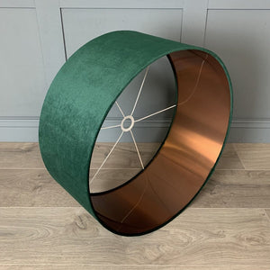 Green Velvet Shade with Brushed Copper Lining