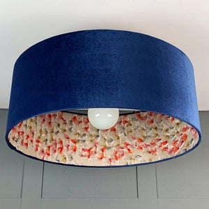 Blue Velvet Electrified Shade with Fluffy Rainbow Fabric Lining