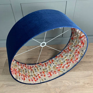 Blue Velvet Shade with Fluffy Rainbow Fabric Lining