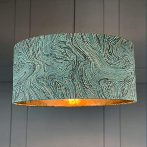 Jade Green, Black and Gold Marble Shade lined with Golden Brown Burnished Wallpaper
