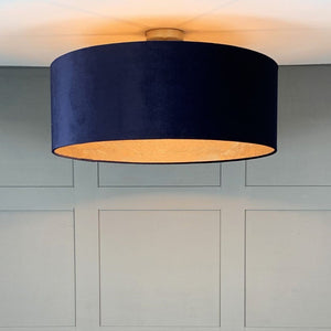 Electrified Navy Velvet Shade with Feathered Gold Wallpaper Lining