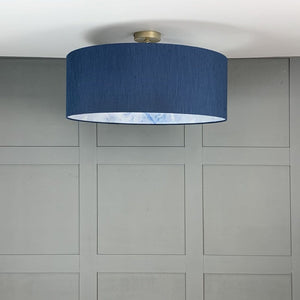 Navy Electrified Shade with Sango Bay Ice Wallpaper Lining