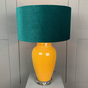 Sunflower Ceramic Table Lamp with Jade Green Shade