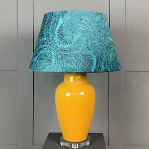 Sunflower Ceramic Table Lamp with Pacha Teal Shade