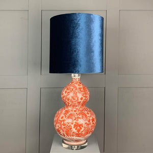Chinese Dragon Table Lamp with Letino Blue Shade