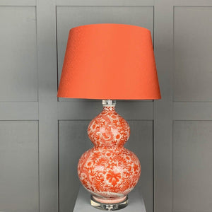 Orange Bulbous Patterned Table Lamp with Carnaby Spice Shade