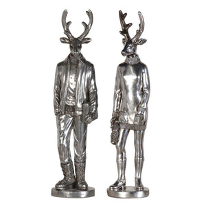 Silver Mr. & Mrs. Deer Set