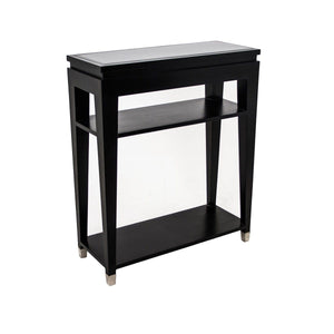 Modena Console Table with Black Glass Top