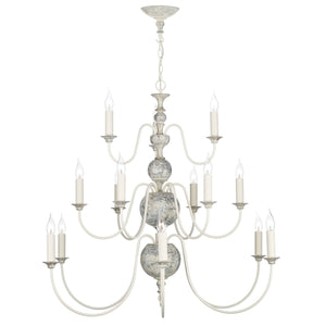 David Hunt Flemish 15 Light Pendant Distressed Powder Grey/Gold