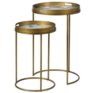 Set of 2 White Glass Marble Effect Side Tables