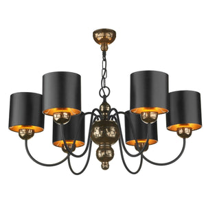 David Hunt Garbo Bronze & Black Shaded 6 Light Chandelier