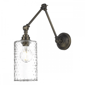 David Hunt Hoxton Wall Light Antique Brass and Glass Shade
