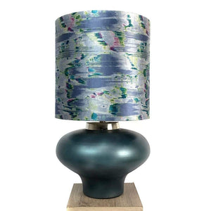 Rugari Enamel Malibu Finish Glass Table Lamp with Atmosphere Solaris Shade