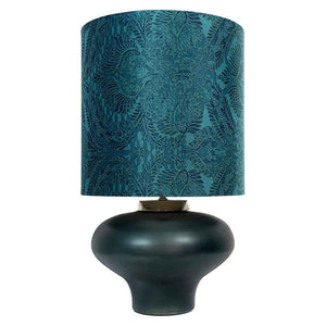 Rugari Enamel Malibu Finish Glass Table Lamp with Pacha Teal Shade