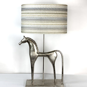 Etruscan Horse Champagne Finish Table Lamp with Mikado Natural Shade
