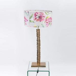 Paperbark Medium Table Lamp Opulent Gold with Raspberry Stone Shade