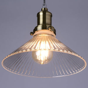 Fairfield Antique Brass Pendant with Ribbed Glass