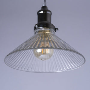 Fairfield Chrome Pendant with Ribbed Glass