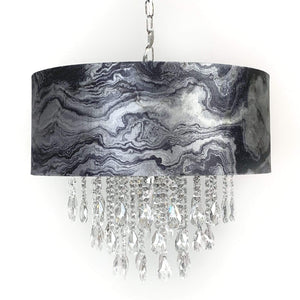 Elen Pendant with Marble Black and Silver Shade