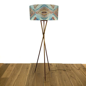 Brondby Tripod Floor Lamp Aged Bronze With Santa Cruz Teal Shade