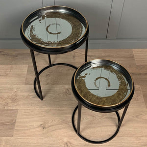 Set of 2 Gold Swirl Tables