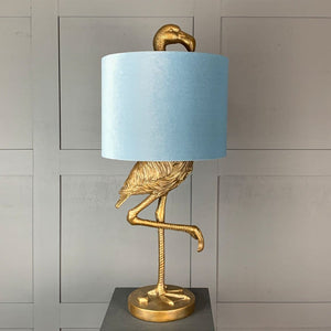Can Can Flamingo Brass Table Lamp & Duck Egg Velvet  Shade