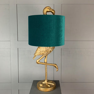 Can Can Flamingo Brass Table Lamp & Jade Green Velvet  Shade