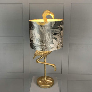 Can Can Flamingo Brass Table Lamp & Passiflora Charcoal Shade