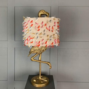 Can Can Flamingo Brass Table Lamp & Fluffy Rainbow Shade