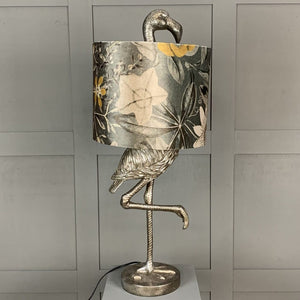 Can Can Flamingo Antique Silver Table Lamp & Passiflora Charcoal Shade