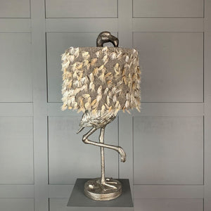Can Can Flamingo Antique Silver Table Lamp & Fluffy Grey Shade