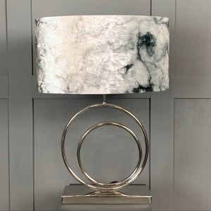 Helios Chrome Table Lamp with Carrara Grey Marble Shade