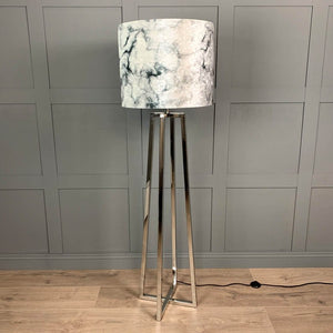Madison Chrome Floor Lamp with Carrara Grey Marble Shade