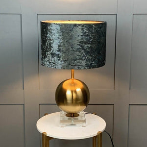 Gold, Crystal and White Orb Table Lamp with Pangolin Saphhire Shade