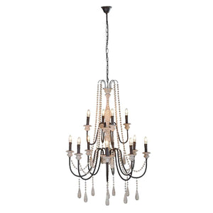 Large Chandelier with Wooden Beads