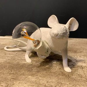 White Lying Mouse Lamp
