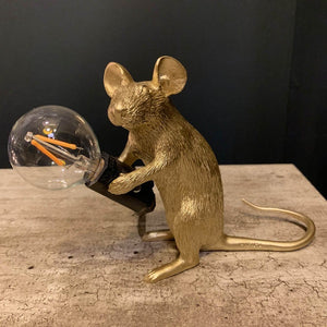 Gold Sitting Mouse Table Lamp