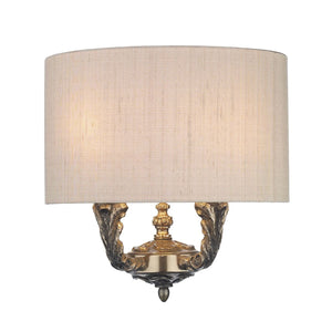 David Hunt Valerio 2 Light Wall Light Bronze with Taupe Silk Shade