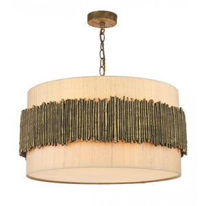 David Hunt Willow 4 Light Pendant complete with Taupe Silk Shade & Cotton Diffuser