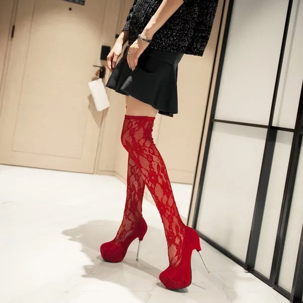 Topsqueen Lace Knee High Boots