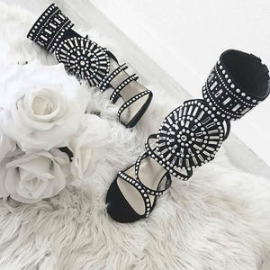 Topsqueen Back Zip Rhinestone Sandals