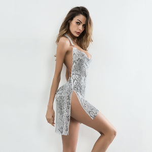 Topsqueen Diamante Slit Backless Piton Dress